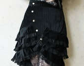 Steampunk black skirt, black cabaret skirt, cabaret skirt with layers of ruffles and lace in your color choice, lolita skirt, gothic skirt