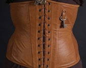 Brown leather corset, steampunk corset, brown corset, key and keyhole corset, lace up corset, cosplay corset, sand tone corset, MASQ