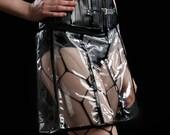 MASQ SALE Hyperbola Transparent vinyl cyber skirt with black details S - M