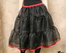 Black tutu skirt, Burlesque black and red organza bridal petticoat 50s tutu skirt Dance clubbing cabaret burlesque fashion MASQ