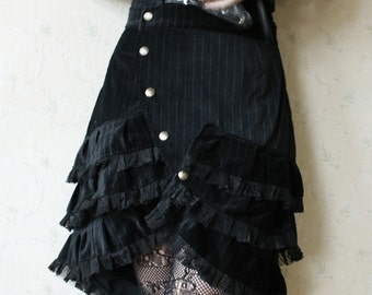 MASQ Steamtech collection Custom made for YOU cabaret skirt with layers of ruffles and lace in your colour choice