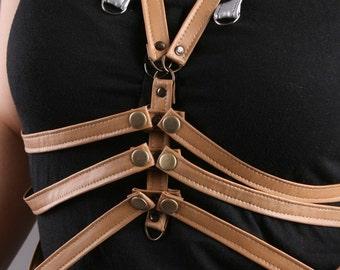 Brown harness, brown bodycage, Ribcage harness, black harness, black bodycage, bondage straps harness, fetish body cage, MASQ original