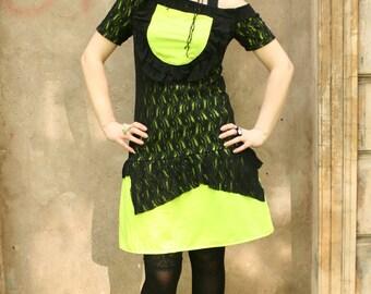 Neon green dress, lace dress, green zombie dress, lace dress, lime dress, jersey dress, rave dress festival dress, cosplay dress MASQ