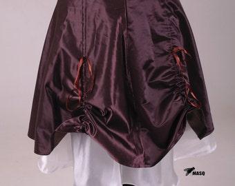 Burgundy brown skirt, half circle skirt, plus size skirt, brown skirt, steampunk skirt, satin skirt, plus size skirt, draped skirt, MASQ