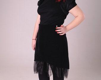 Black pinstripe skirt, plus size skirt, velvet skirt, layered skirt, gothic skirt, goth skirt, dieselpunk skirt organza skirt, everyday goth