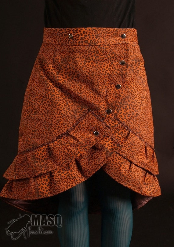 MASQ SALE Orange leopard print cabaret skirt with ruffles S to M/L