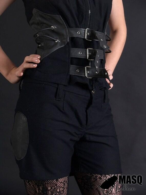 MASQ Steamtech Black cotton and leather steampunk shorts M - 38