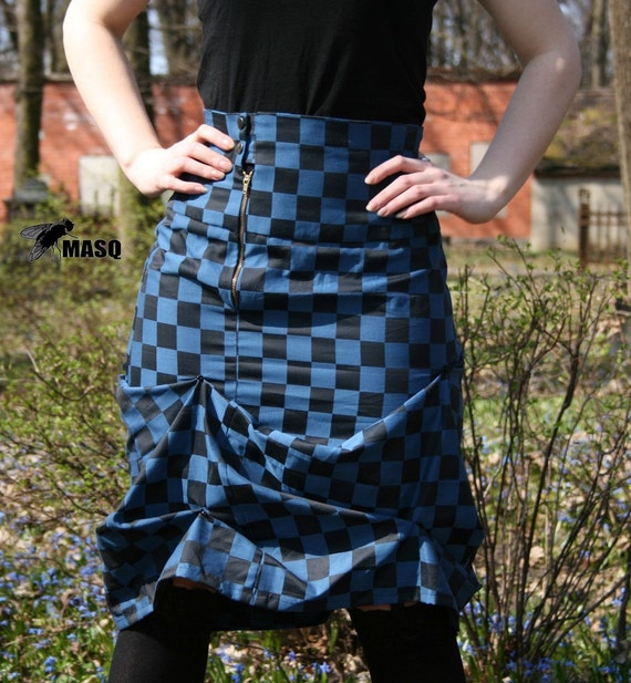 MASQ Checker print Chess black and blue Alice in Wonderland drapped high waist skirt. Size M