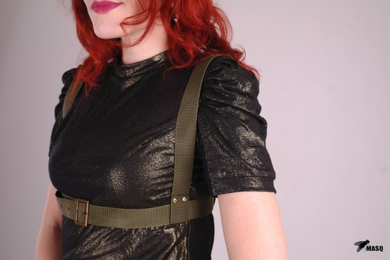 MASQ 2012 military green gold and bronze steampunk harness S M L XL
