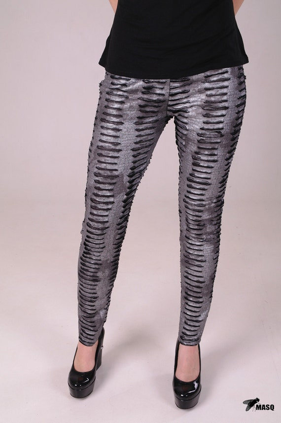 Reserved for Slinderkill - 1st payment - MASQ Alien inspired grey silver and black leggings, only one pair