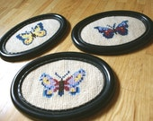 Handmade Vintage Butterfly Embroideries with frame .... Set of 3
