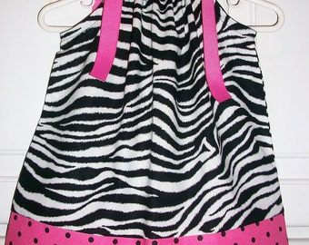 Zebra Dress Pillowcase Dress Girls Dress Black and Hot Pink baby dress toddler dress Kids Clothes Zoo Dress Zoo Party Jungle Animals Zoo Top