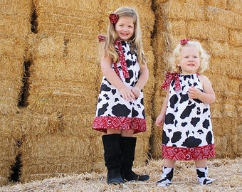 Pillowcase Dress Cow Dress Girls Dress Farm Dress Farm Party Clothes Cow and Bandana Western Dress baby dress toddler dress Spring clothes