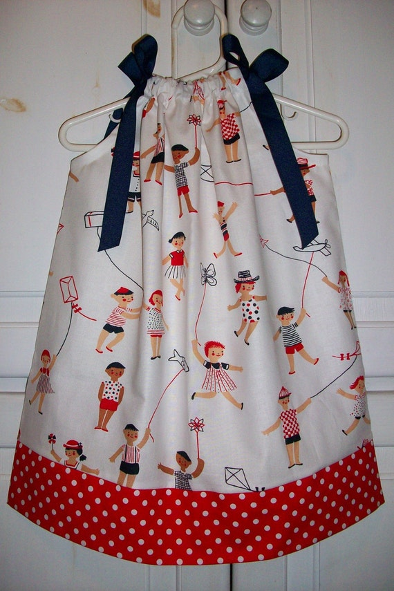 Pillowcase Dress KIDS and KITES Michael Miller Red White Blue Summer 24m 2t .. Last One