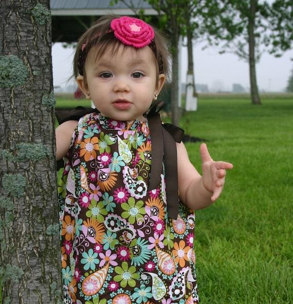Pillowcase Dress PAISLEY FLOWERS Spring Brown Pink Aqua baby toddler girl