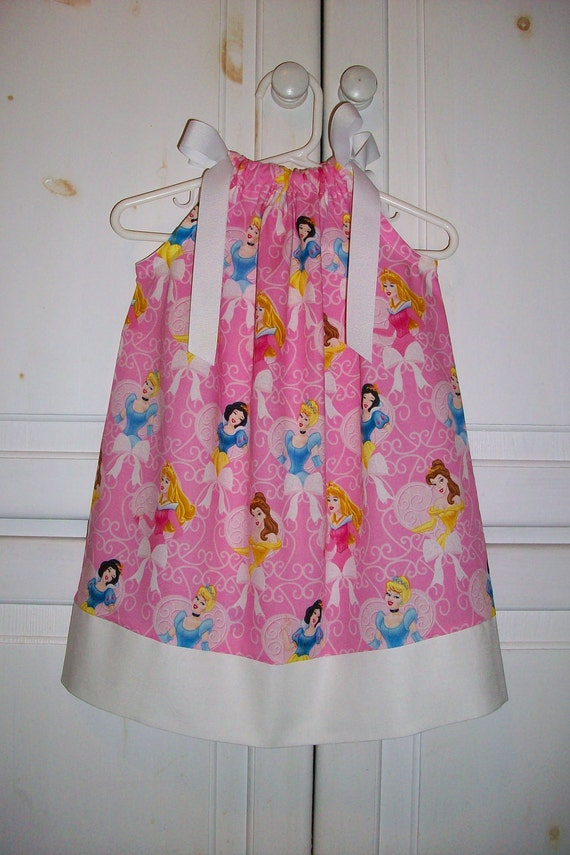 2t Pillowcase Dress Disney PRINCESS Pink Scrolls and Hearts Cinderella Snow White Belle toddler girl