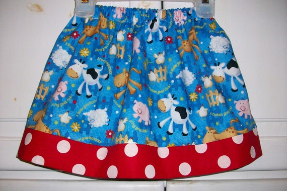 SALE Twirl Skirt FARM ANIMALS Cow Pig size 2t  Last One
