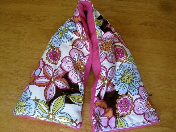 Therapy Rice Bag -Hawaiian Flowers/Pink Fleece-Washable Cover