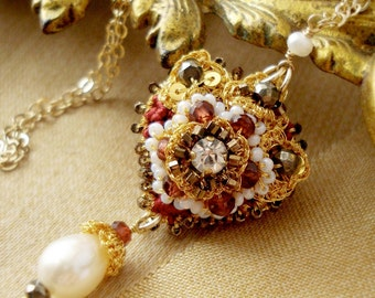 "As Seen on Reign | Garnet Heart Necklace | Beaded Gold Lace Textile Pendant | Freshwater Pearls | ""Juliette"""