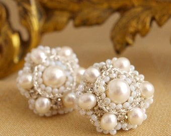 "Pearl Rhinestone Wedding Earrings / Ivory Silver Bridal Studs / Jewelry  / Handmade Floral Lace / ""Perla"""