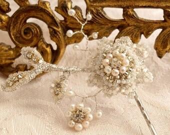 Pearl Wedding Hair Accessory / Art Nouveau Bridal Hair Flower / Ivory Silk, Vintage Rhinestones, Silver Lace / Celestina