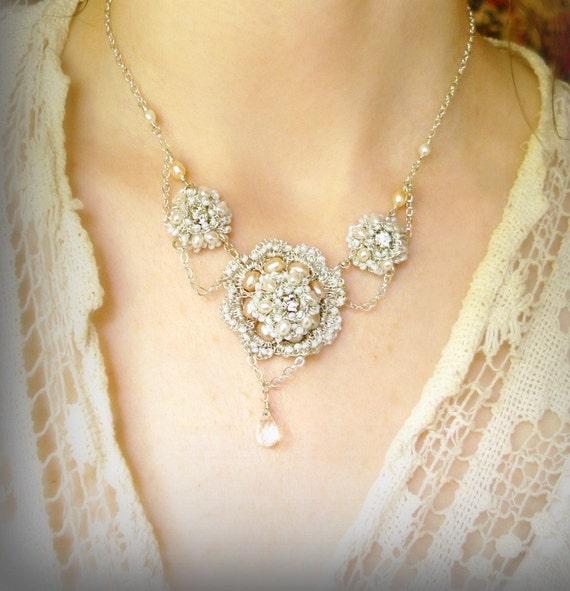 ATHALIE Necklace- Handmade Silver Lace, Pearls, Vintage Rhinestones