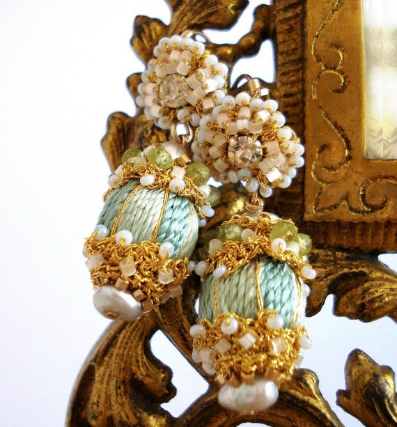 Reserved for Morgan- 3rd Payment Installment on Custom Sea Foam Green Silk and Lace Drop Earrings