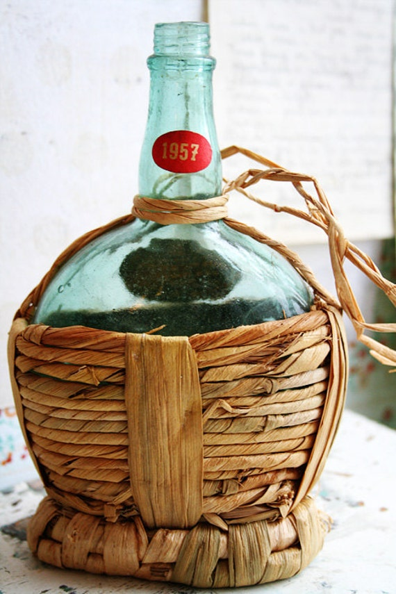 Vintage Green Glass Bottle Wrapped in Straw