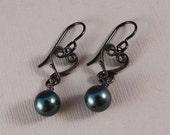 Black Niobium with heart connectors and Swarovski Tahitian pearls