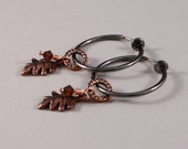 Clip on earrings, gunmetal hoops, Antique Copper rings and oak leaf charms