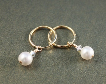 Swarovski White crystal pearls and Crystal AB GP clip hoop earrings