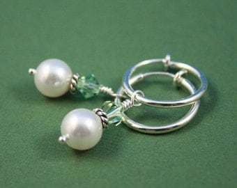Swarovski White pearls with SP clip hoop earrings, clip on earrings