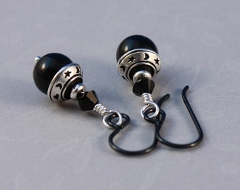 Niobium earrings, Moon and Stars with Mystic Black pearls and black Niobium