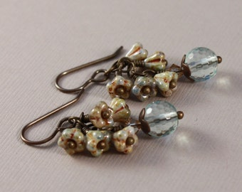 Vintaj natural brass, Aqua Quartz and baby bell flowers pierced earrings