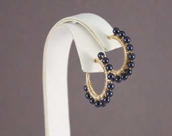 Clip hoop earrings GP wirewrapped with Swarovski Night Blue pearls