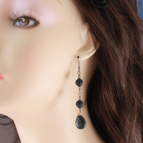 Natural Niobium handformed earrings with Lava rock and Czech Glass briolettes