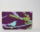 Gadget Bag - Padded Zipper Pouch - Lilac Sparrows