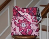 Nantucket Bag - Reversible Hobo Purse with Zipper Pocket  - Amethyst Floral and Woodferns