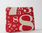 Red Cosmetic Bag - Divided into 2 Compartments - Numbers in the Red