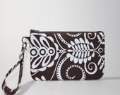Wristlet / Padded Zipper Pouch - Chocolate Whimsey
