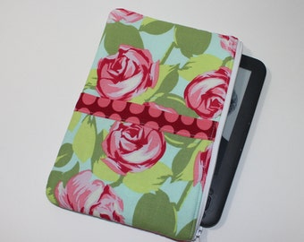 SALE   Kindle Fire Case / Kindle Keyboard Cover - Large - Padded eReader Case - Tumble Roses