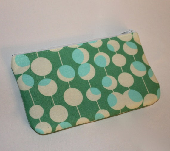 SALE  -  Gadget Bag - Padded Zipper Pouch - Green Martini