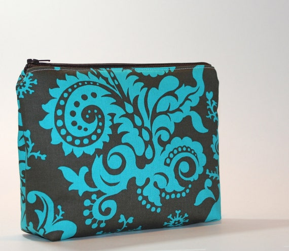 Turquoise Divided Cosmetic Bag - 2 Compartments - Woodfern in Forest