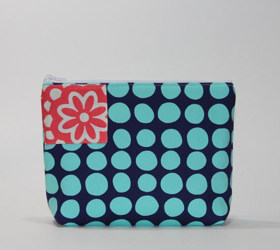 Divided Cosmetic Bag - 2 Compartments - Sunspots in Blue