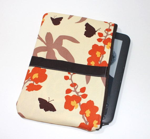 Kindle Fire Case / Kindle Keyboard Cover - Large - Padded eReader Case - Orchids in Ivory