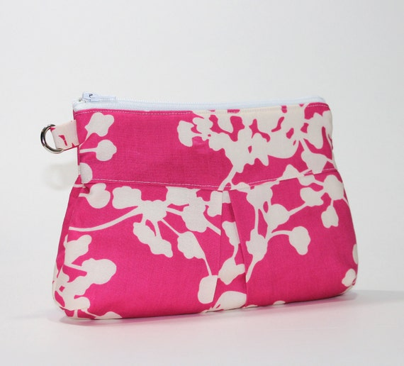 Pink Clutch- Deluxe Clutch with Wrist Strap - Amy Butler Coriander in Pink
