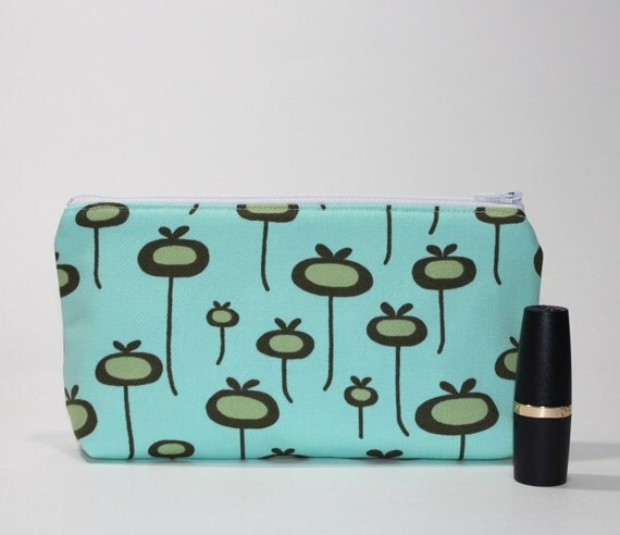 Compact Divided Brown Cosmetic Bag- 2 Compartments - Aqua Poppies