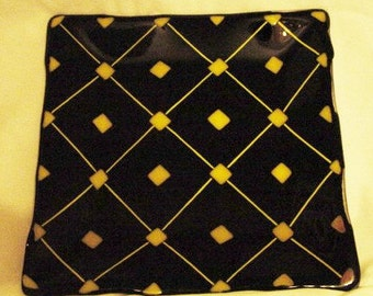 Fused Glass Plate,Black and Yellow