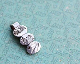 trilogy, pendant, fine silver, pmc, precious metal clay