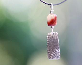 pendant, fine silver, jasper, pmc, precious metal clay, linear